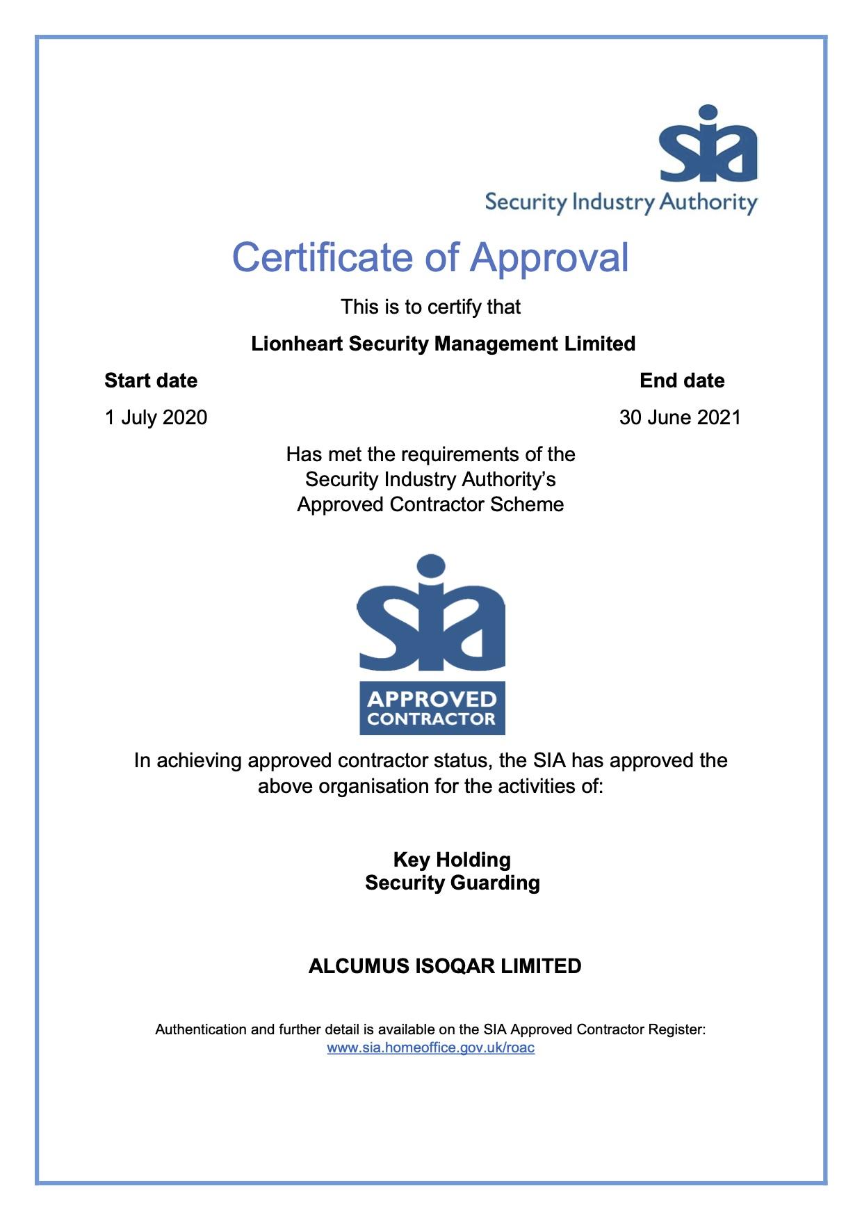 SIA Certificate